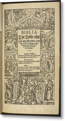 Title Page Of 'coverdale's Bible' Metal Print