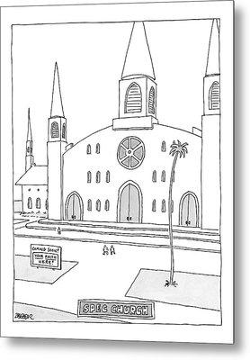 Title: Spec Church. A Billboard Outside A Church Metal Print