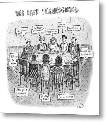 Title: The Last Thanksgiving. Family Seated Metal Print by Roz Chast