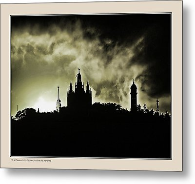 Metal Print featuring the photograph Tividabo. Dramatic Sunset by Pedro L Gili