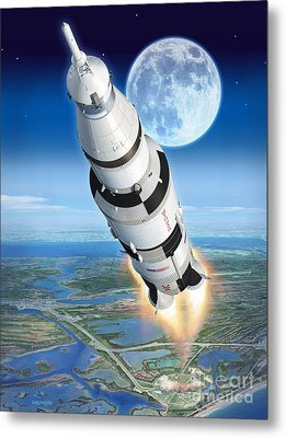 To The Moon Apollo 11 Metal Print by Stu Shepherd