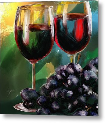 Toast Of Wine Metal Print