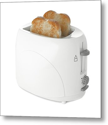 Toaster With Toast Metal Print by Science Photo Library