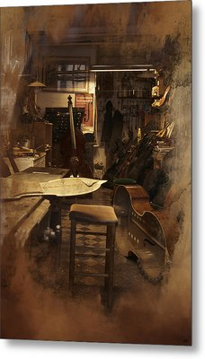 Tobacco Cello Metal Print by Evie Carrier