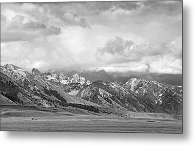 Tobacco Root Mountains Montana Black And White Metal Print by Jennie Marie Schell