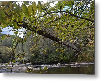 Toccoa River Swinging Bridge Metal Print