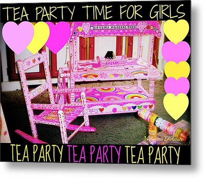 Toddler Tea And Art Cart/table And Magical Rocking Chair Metal Print by Maryann  DAmico