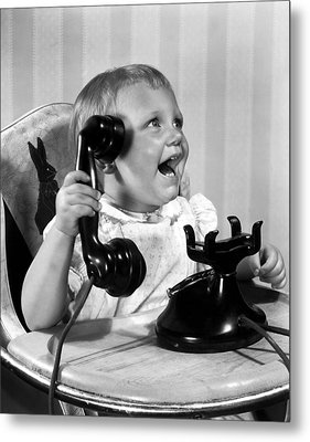 Toddler With Telephone Metal Print by Underwood Archives