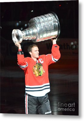 Metal Print featuring the photograph Toews Holds The Stanley Cup by Melissa Goodrich