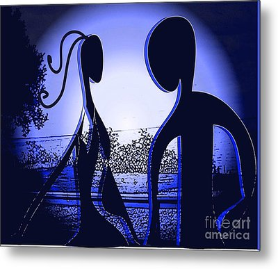 Metal Print featuring the digital art Together Forever 2 by Iris Gelbart