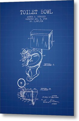 Toilet Bowl Patent From 1936 - Blueprint Metal Print