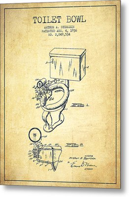 Toilet Bowl Patent From 1936 - Vintage Metal Print