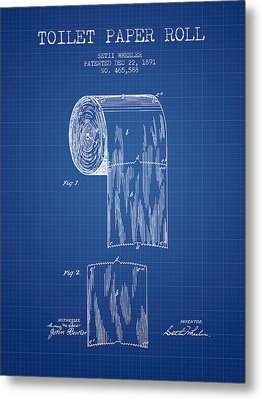 Toilet Paper Roll Patent Drawing From 1891 - Blueprint Metal Print by Aged Pixel