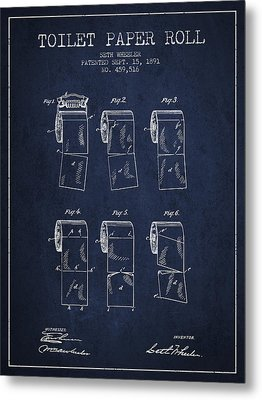 Toilet Paper Roll Patent From 1891 - Navy Blue Metal Print