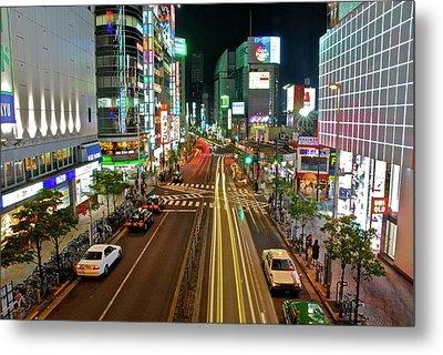Tokyo Neon Streaks Metal Print