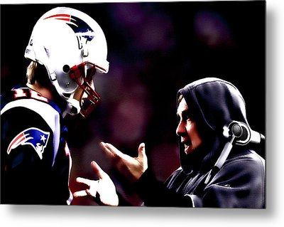 Tom Brady And Coach Metal Print by Brian Reaves