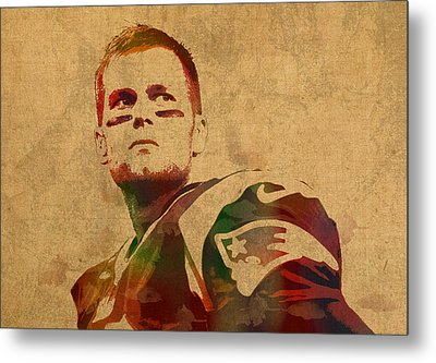 Tom Brady New England Patriots Quarterback Watercolor Portrait On Distressed Worn Canvas Metal Print