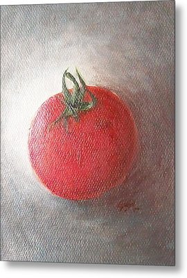 Metal Print featuring the painting Tomato by Jane  See