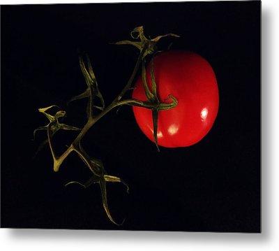 Tomato With Stem Metal Print by Patricia Januszkiewicz