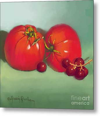 Tomatoes And Concord Grapes Metal Print