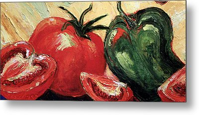 Tomatoes And Green Pepper Metal Print by Paris Wyatt Llanso