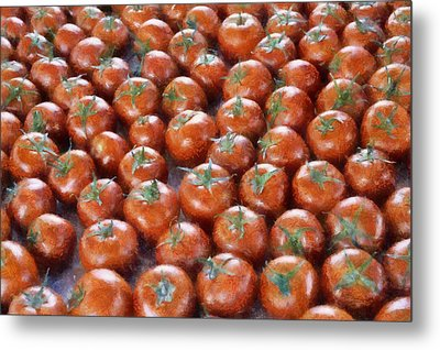 Tomatoes At The Market Metal Print by Michelle Calkins