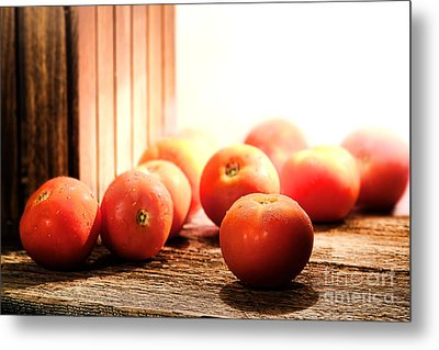 Tomatoes In An Old Barn Metal Print by Olivier Le Queinec