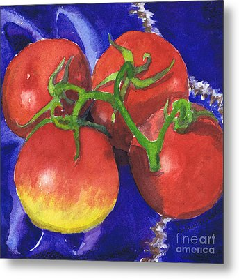 Metal Print featuring the painting Tomatoes On Blue Tile by Susan Herbst