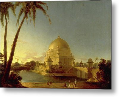 Tomb Of Sher Shah, Sasaram, Bihar Signed In Black Paint Metal Print by Litz Collection