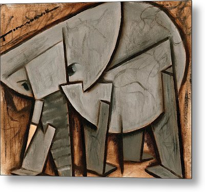 Abstract Cubism Elephant Art Print Metal Print