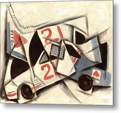 Cubism Racing Car Art Print Metal Print