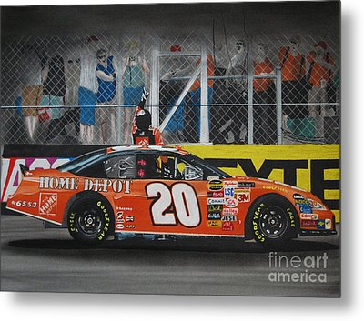 Tony Stewart Climbs For The Checkered Flag Metal Print by Paul Kuras