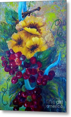 Too Delicate For Words - Yellow Flowers And Red Grapes Metal Print by Eloise Schneider