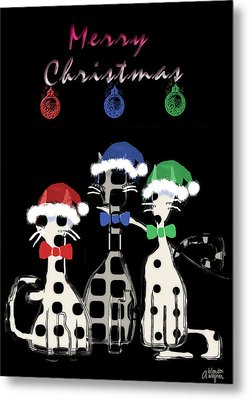Metal Print featuring the digital art Toon Cats Christmas by Arline Wagner