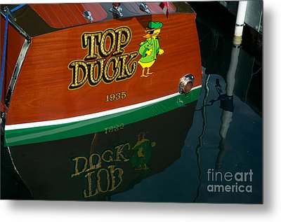 Metal Print featuring the photograph Top Duck At Tahoe's Wooden Boat Festival  by Vinnie Oakes