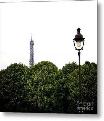 Top Of The Eiffel Tower And Street Lamp. Paris.france. Metal Print by Bernard Jaubert