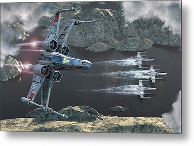 Top View Of A Group Of X-wings Flying Metal Print by Kurt Miller