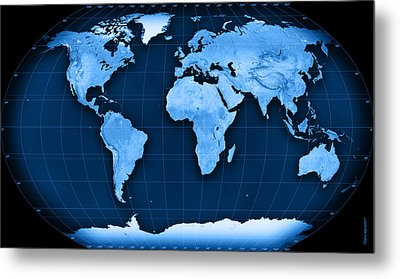 Topographic World Map Kavraisky Vii Projection Metal Print by Frank Ramspott