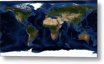 Topography Map Of The World Metal Print by Sebastian Musial