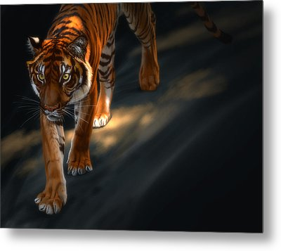 Metal Print featuring the digital art Torch Tiger 2 by Aaron Blaise