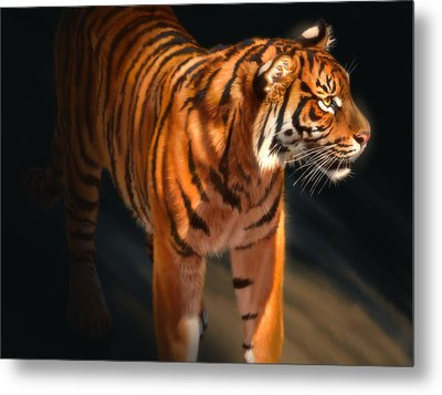 Metal Print featuring the digital art Torch Tiger 4 by Aaron Blaise