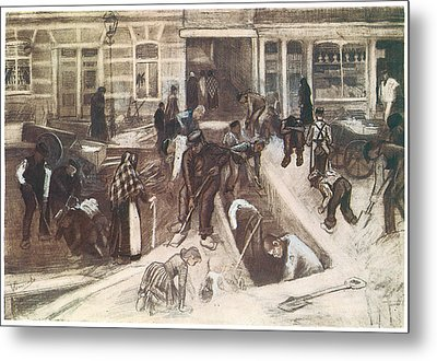 Torn-up Street With Diggers Metal Print by Vincent van Gogh