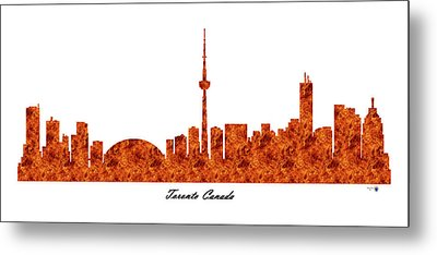 Toronto Canada Raging Fire Skyline Metal Print