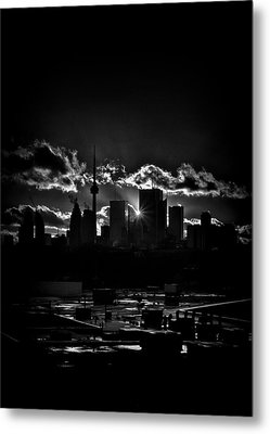 Toronto Canada Skyline At Sunset From The Pape St Bridge Metal Print by Brian Carson