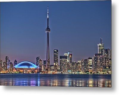 Toronto Night Skyline Cn Tower Downtown Skyscrapers Sunset Canada Metal Print