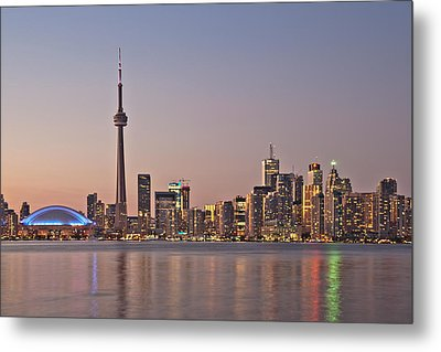Toronto Night Skyline Tower Downtown Skyscrapers Sunset Canad Metal Print