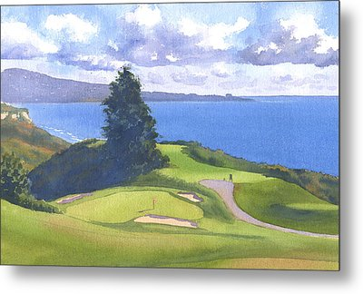 Torrey Pines Golf Course North Course Hole #6 Metal Print by Mary Helmreich