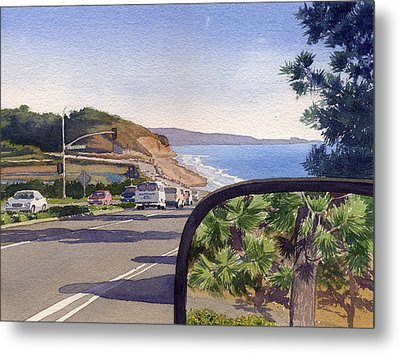 Torrey Pines In Sideview Mirror Metal Print by Mary Helmreich