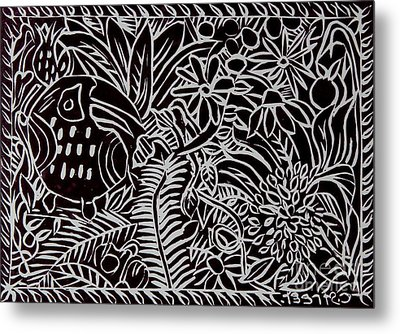 Jungle Scene With Toucan Black  Metal Print