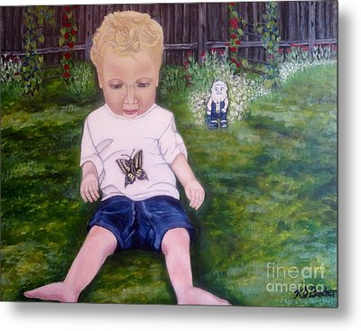 Metal Print featuring the painting Touched By A Butterfly Kiss by Kimberlee Baxter